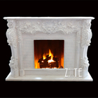 Natural Hand Carved indoor marble wood burning fireplace hearth slabs surround