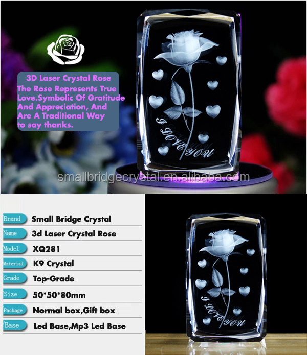 Wedding Gift Engraving Rose Flowers 3d Laser Crystal Cube