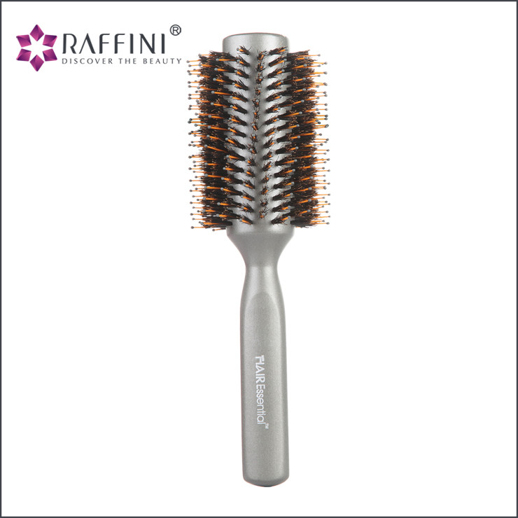 Household metallic silver rubber coating lady radial wooden hair brush with customizable logo