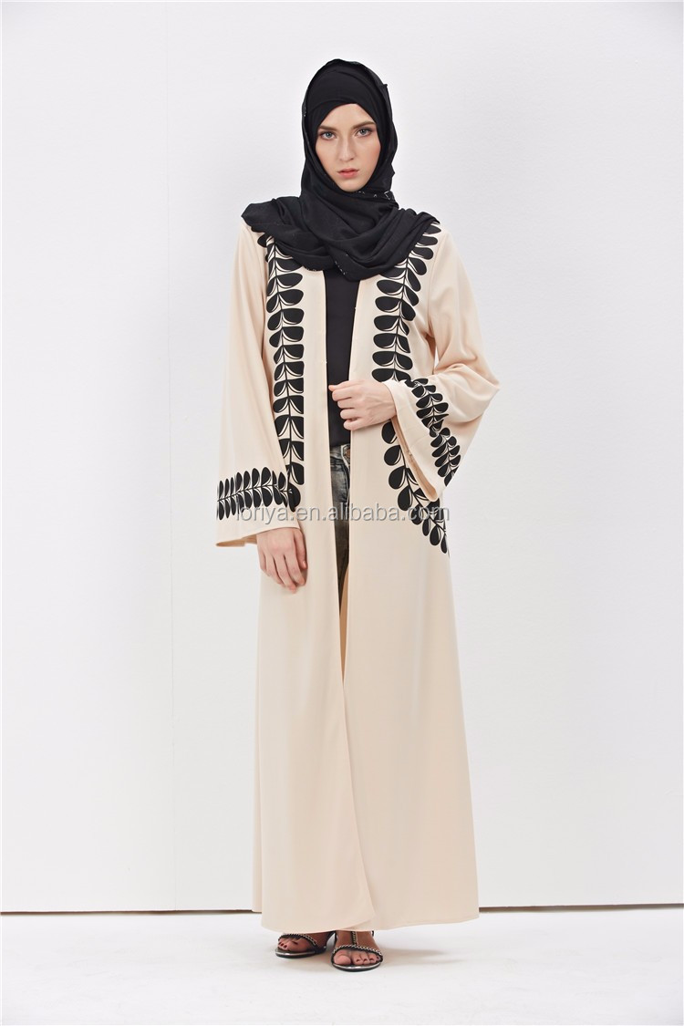 Factory High-End Feather Printing Muslim Long Cardigan Dubai Kaftan Abaya Kimono Open Abaya