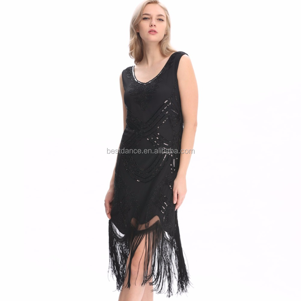 BestDance frauen Prallplatte Kleider 1920 s V-ausschnitt Perlen ...