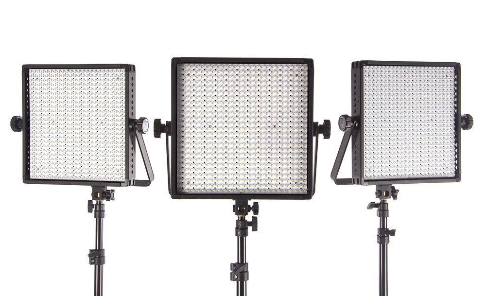 StudioPRO (Set of 3) S-600D Ultra High Power 600 LED Photography Light Panel with Dimmer Switch for All Photo Video & Film Production Lighting Kit - Continuous 5600K Daylight Panel
