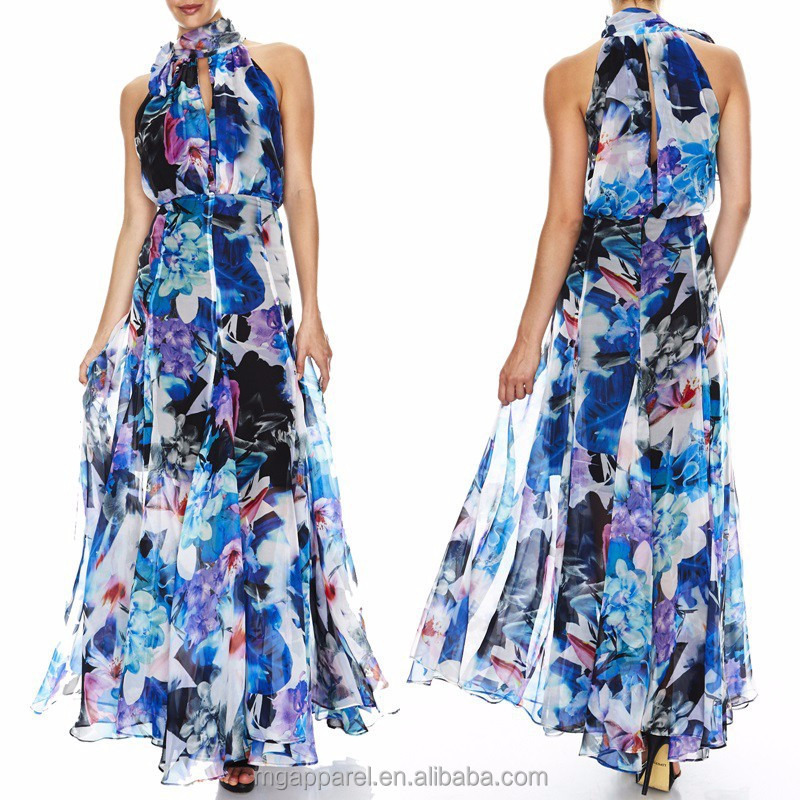 Long chiffon evening dress elegant floral pattern formal evening gown of chiffon fabric