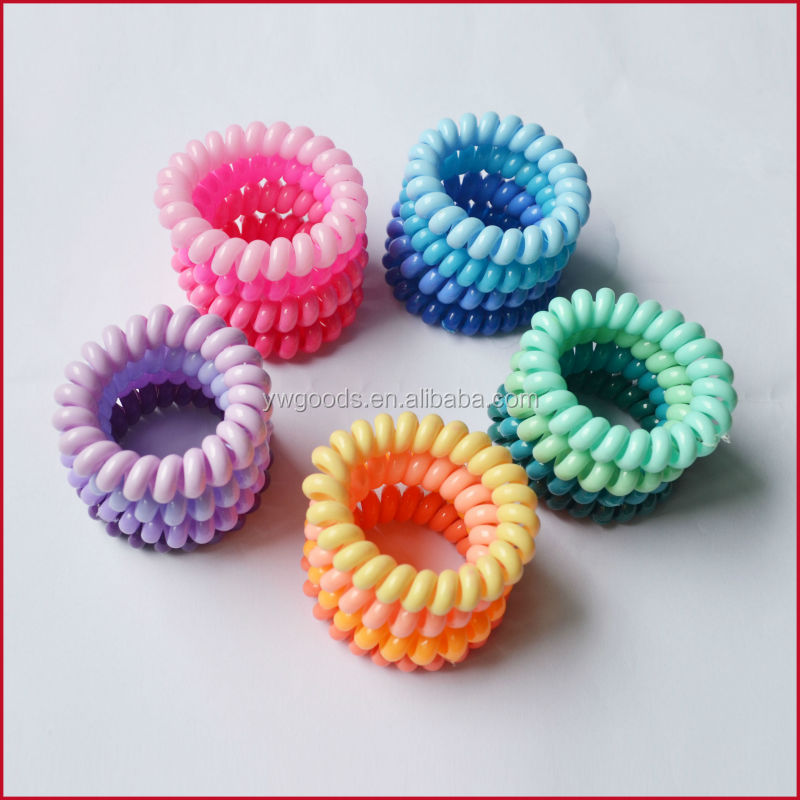 Elastic Hair Ties Plastic Bracelet Spiral Band Phone Lined Custom Tie Telephone Line Product