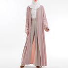 wholesale summer casual style islamic clothing pink kimono robe long for women modern abaya