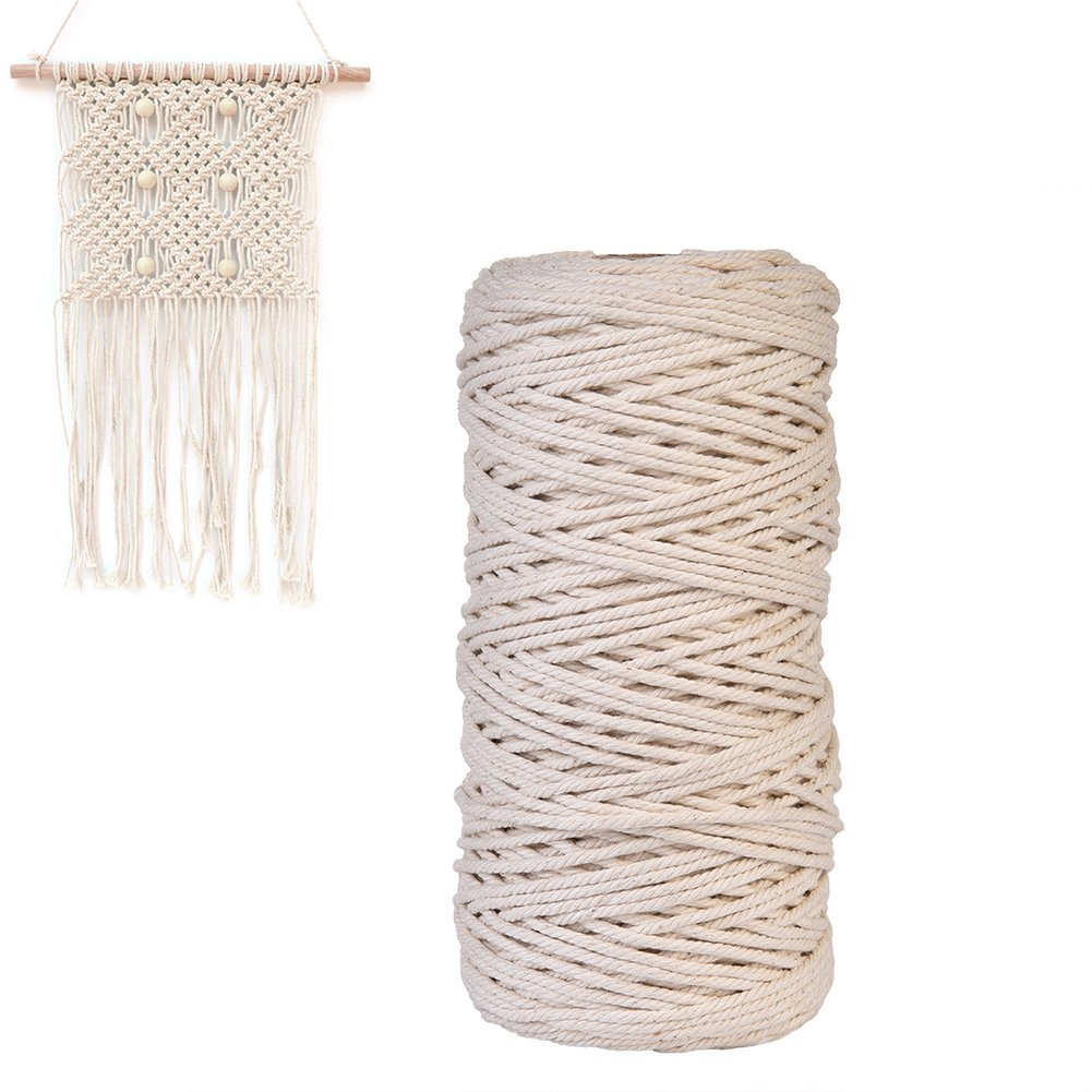 Cotton Macrame,Sundlight DIY Decorations Wall Hanging Plant Hanger Craft Making Knitting Cord Rope Natural Color Beige,1mm/2mm