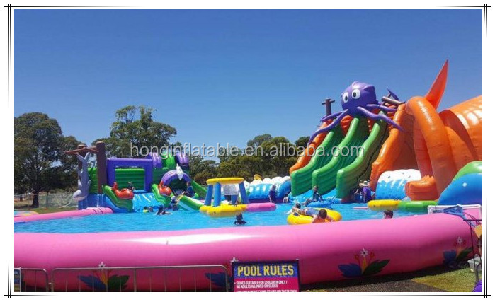 Giant Inflatable Aqua Park, Inflatable Waterpark Rentals, Outdoor Portable Water Parks