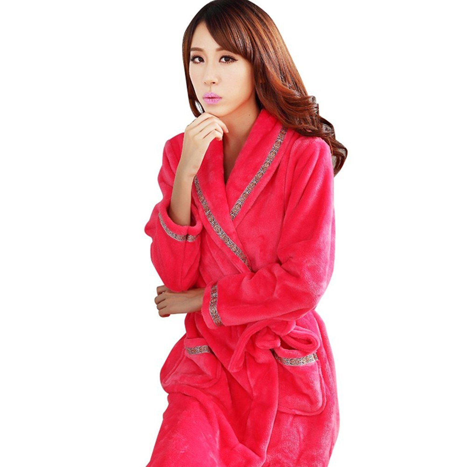 9dbb84987a Get Quotations · Fashionpjs Flannel Fashion Matching Couples Womens Mens  Bath Robe Thermal Pajamas