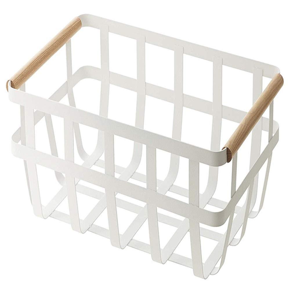 YChoice Rack Decor Japanese Style Wrought Iron Kitchen Debris Storage Basket Kitchen Rack White Storage Basket White Storage Basket