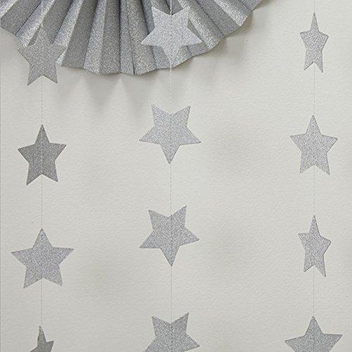 2-Pack,Silver star Garland, Silvery Christmas galaxy banner, Twinkle Twinkle Little Star garland Christmas garland, Christmas decor, Silver Baby shower(4 inch in Diameter, 6.6 Feet)