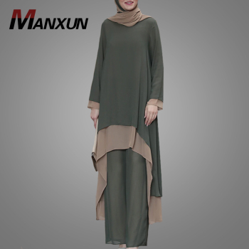 Latest Customize Muslim Women Tracksuit High Quality Chiffon Islamic Clothing Hot Selling Loose Blouse With Jogging Suit