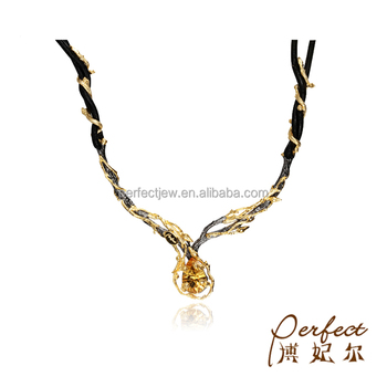 Fashion Handmade Citrine 925 Sterling Silver Jewelry Pendant Necklace