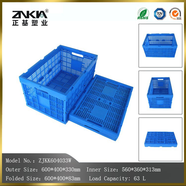 mesh side and mesh base folding plastic stackable baskets