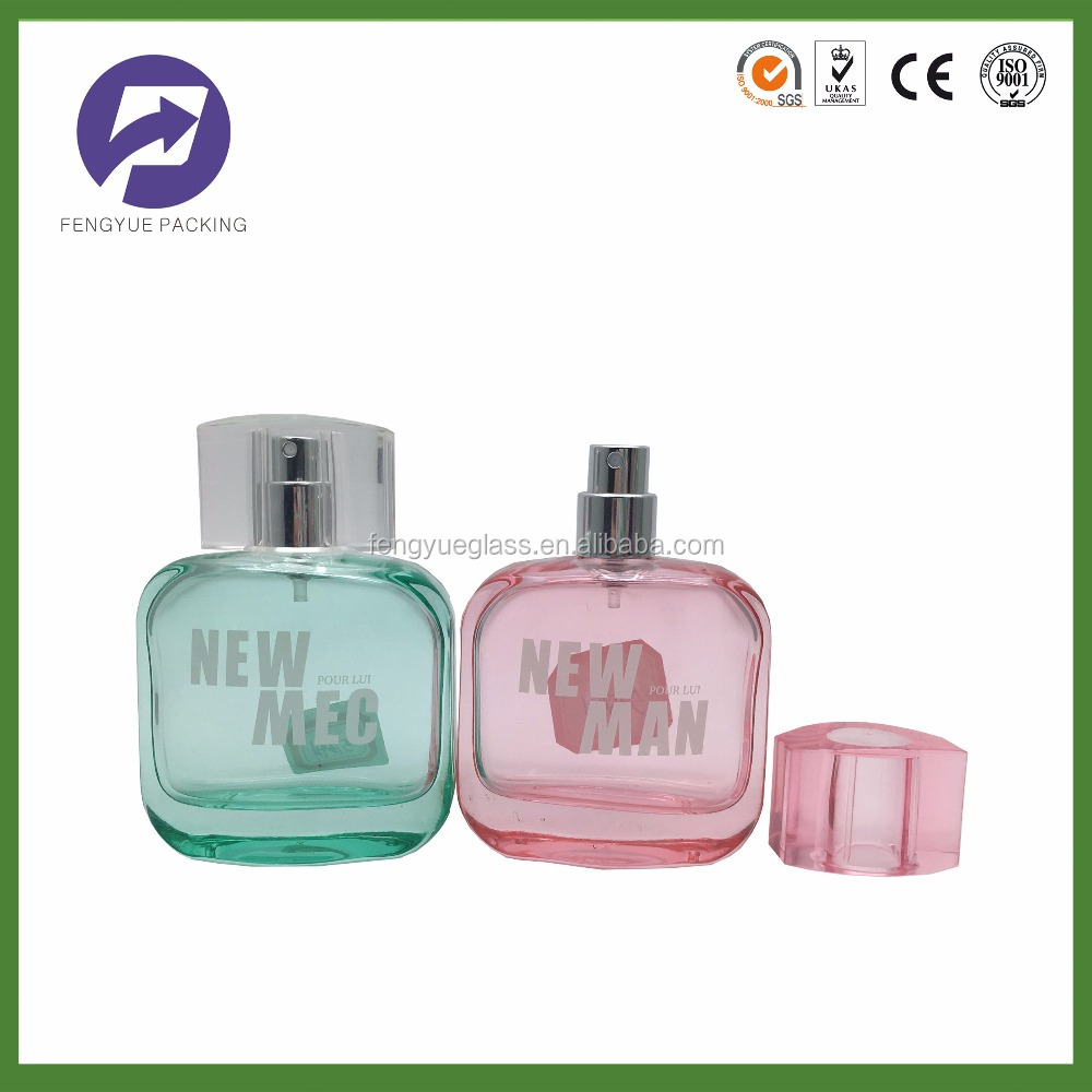 colorful square cosmetics packaging perfume bottle for man 50ml 100ml