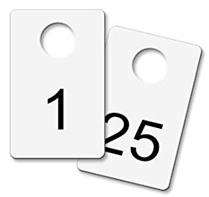 Coat Check Tags - White Metal (Numbered 1- 25)