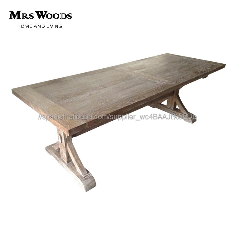 Estilo de país 8 asiento caballete de madera de roble francés mesa ...