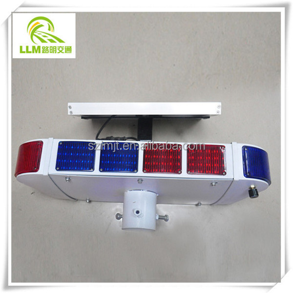 Factory direct red and blue LED surrounded flashing solar traffic warning light