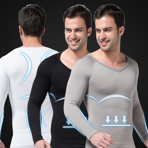 Mens Body Shaper Seamless Long Sleeve Abdomen In Undershirt Belly Compression Corset