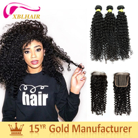 XBL Curly wave peruvian human hair pieces weave for micro braids virgin hair wholesale