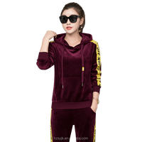 Fall 2017 Active Set Ties Hoodie Trim Thread Cuff Long Sleeve Gold Velvet Set Women Two Piece Tracksuit