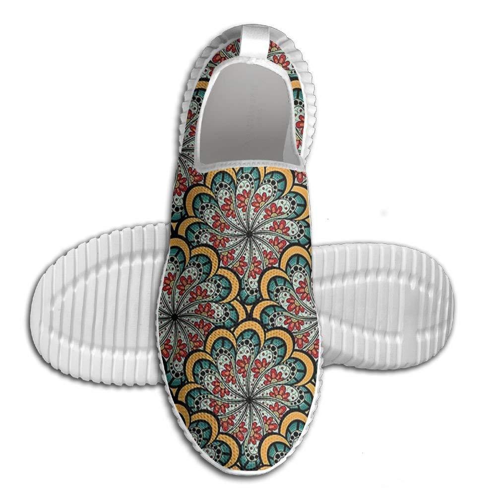 DiamondsJun Unisex Indian Decor Flourishing Wavy Flowers Like Moroccan Inspired Art All Over 3D Printed Mesh Slip On Fashion Comfortable Shoes