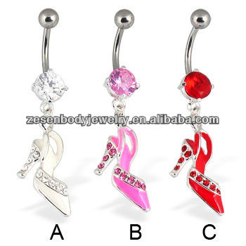 wholesale crystal navel jewelry dangling high-heeled shoes epoxy belly piercing body jewelry stainless steel