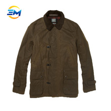 High quality popular press button green nylon woodland jacket with shirt collar