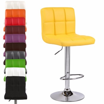 Mordern Leather Adjustable Bar Stools Swivel Pub Chair