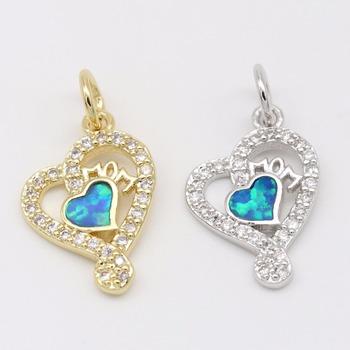 Small Double Heart Shape Jewelry Pendants Opal Accessories Love