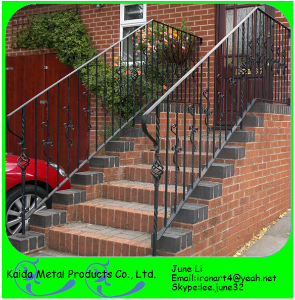 Lowes modern wrought iron outdoor metal handrails for outdoor porch steps stairs buy handrails for Lowes exterior wrought iron railings