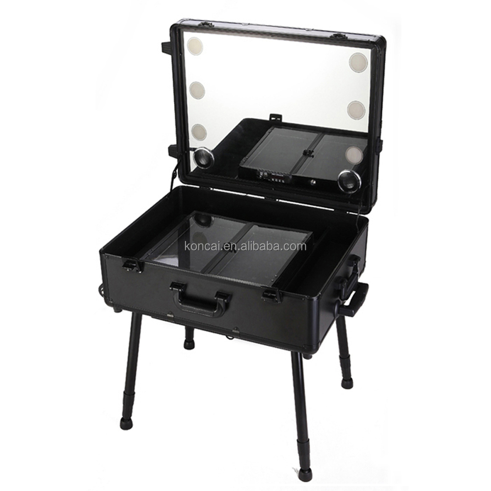 Professional Cosmetic case & beauty salon stations, Aluminum frame with multi-wheels and makeup case