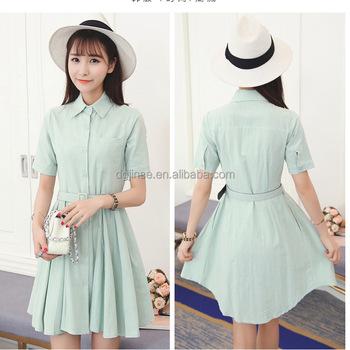 21fb4e03fc3 Womens Cotton Linen Short Sleeve Flared Hem Casual Button Down Shirt Dress  With Belt In