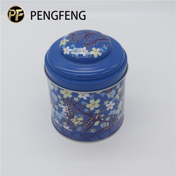 Airtight round tea tin box cylinder tea packing tin can with dome lid