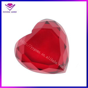 Mass Glass Gems Production Red Gemstone Hearts Wholesale