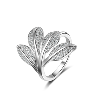 Cz Pave Setting Unique Leaf Rose Flower Ring Open Adjustable Big Ring Set For Women Fashion Wedding Finger Party Accessories