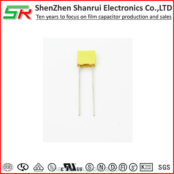 100V 1NF Metal Radial Lead Box Type Film Correction Capacitors Yellow