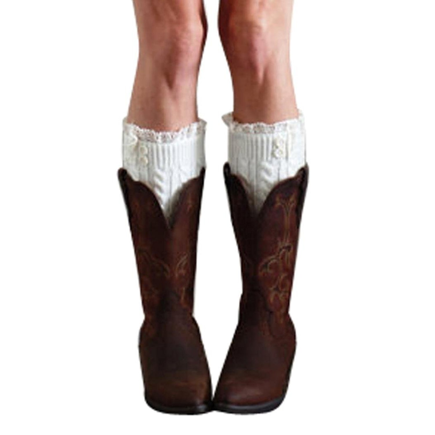 Inkach Womens Boot Socks | Knee High Leg Warmers| Lace Cuffs Leggings Warm Socks