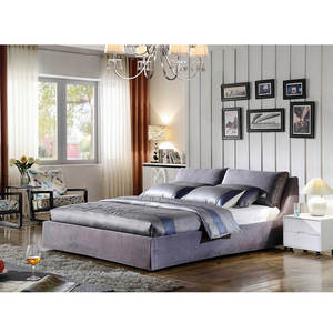 Living Room Japanese Frame Wooden Double Drawer Royal Luxury Modern Gray Fabric Bed