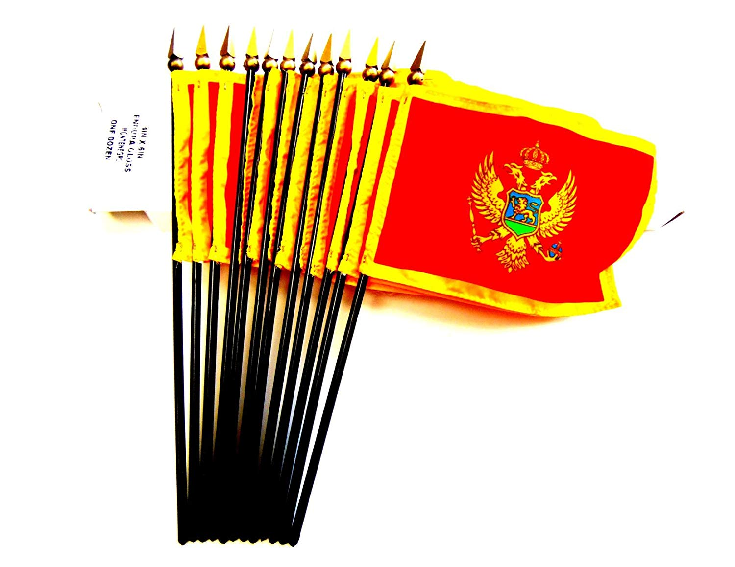 """Made in USA!! Box of 12 Montenegro 4""""x6"""" Miniature Desk & Little Table Flags; 12 Office and Waving Small Mini Montenegro Handheld Stick Flags in a Custom Made Cardboard Box Made for These Flags"""