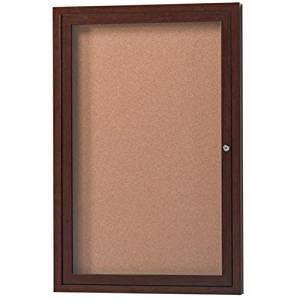 "Outdoor Enclosed Wall Mounted Bulletin Board Size: 36"" H x 24"" W x 2"" D, Finish: Walnut"