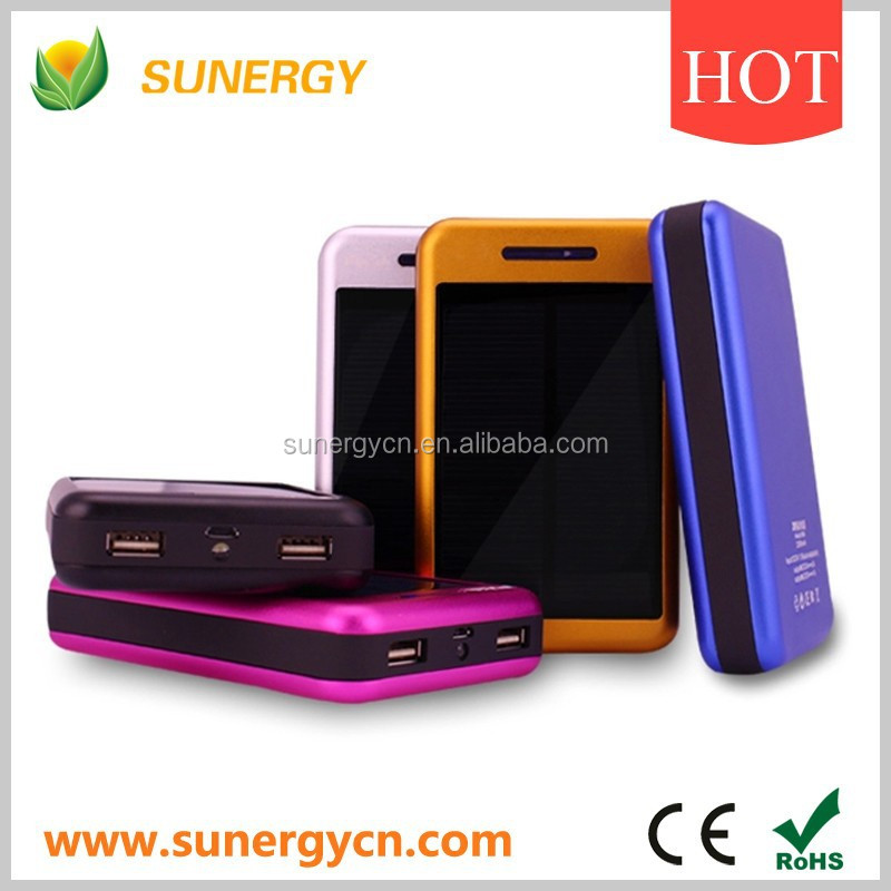 10000mah solar mobile phone charger with 2 outputs and flashlight torch