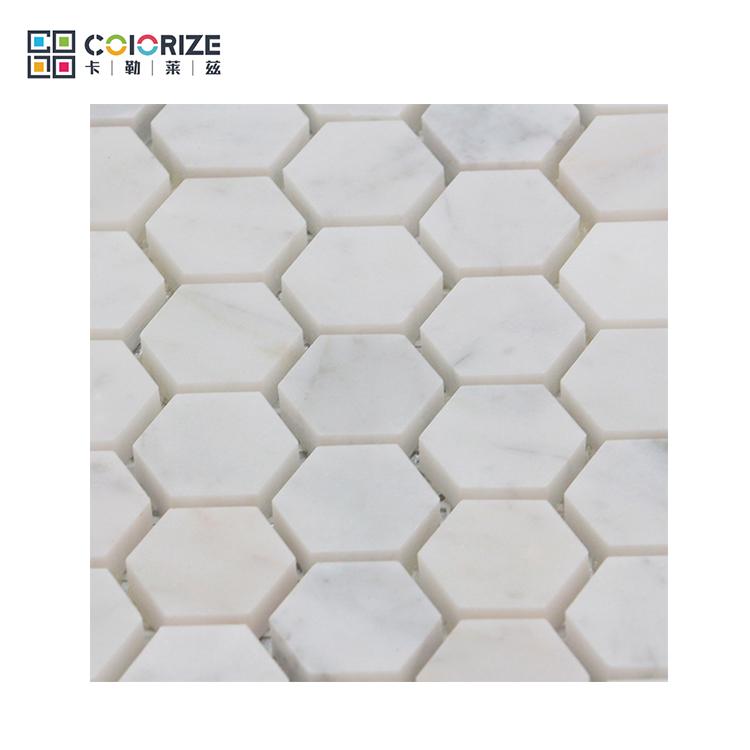 Big Chip Hexagon Marble Mosaic Floor Tileglow In Dark Mosaic Buy
