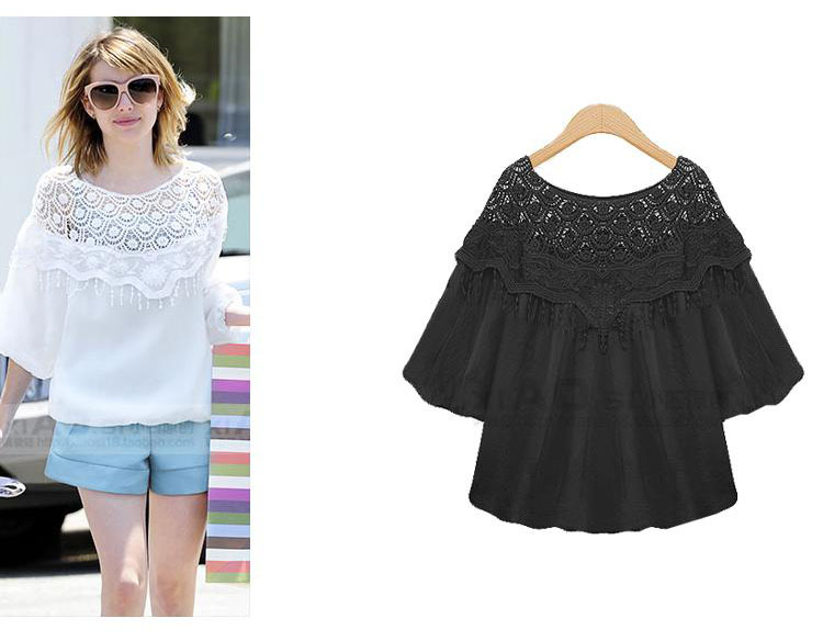 2015 summer new European lace crochet loose White | Black puff sleeve women 's plus size shirt
