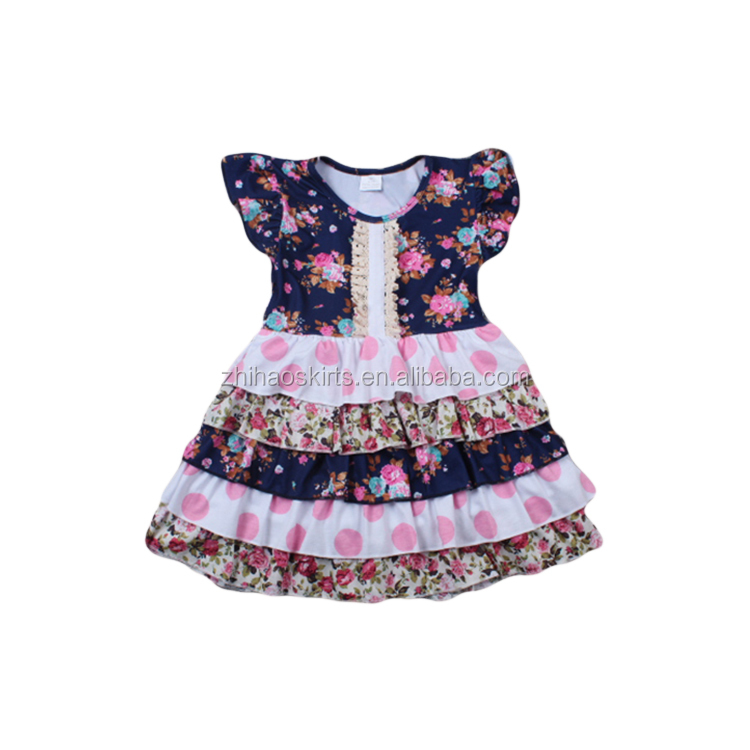 2016 bulk wholesale kids clothing flutter sleeve multilayer ruffle summer baby dress new style