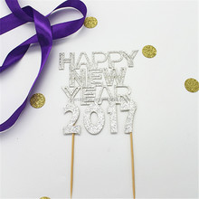 Happy New Year 2017 Glitter Silver Cake Topper New Year Cake Decoration