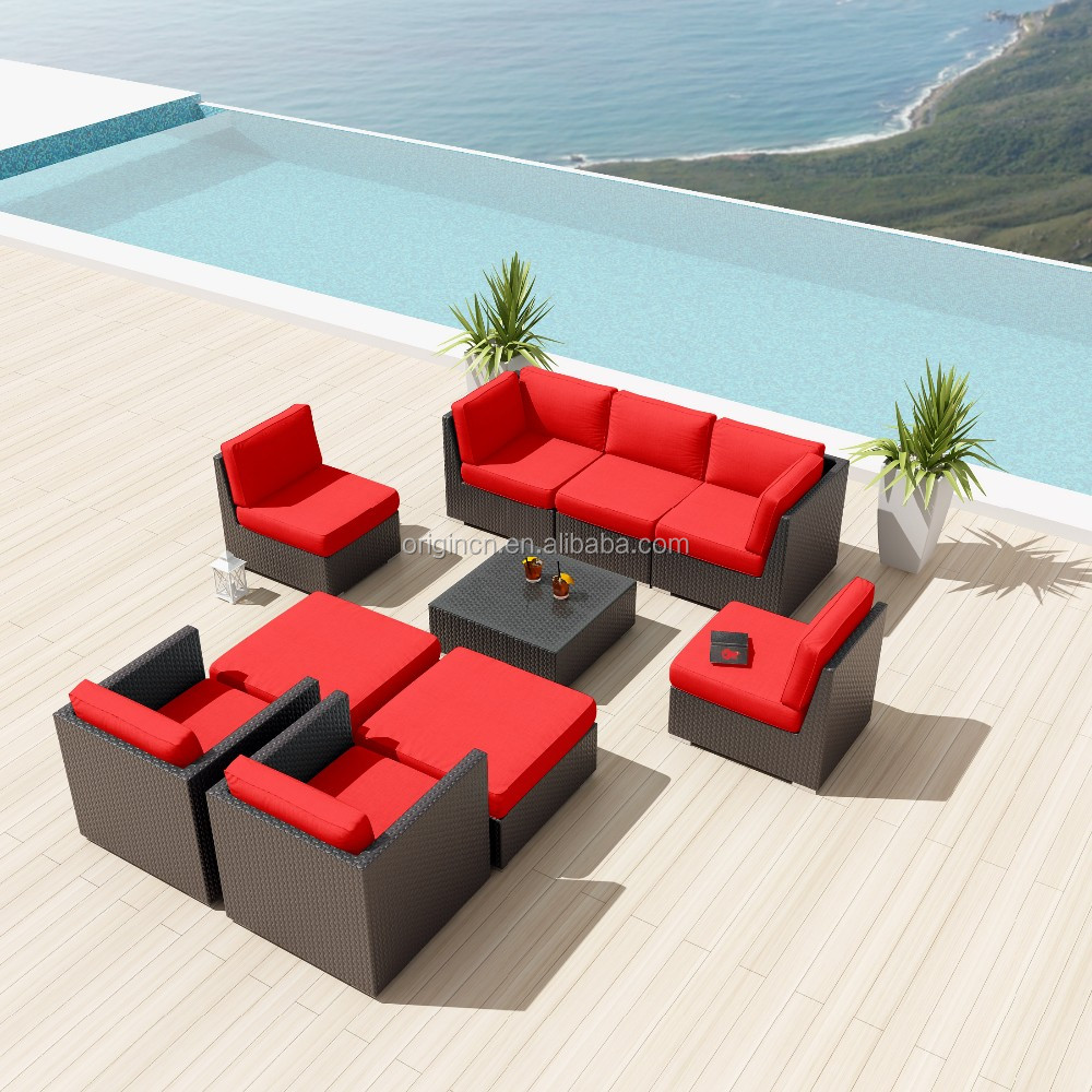 Espresso Color Deep Seating Outdoor Modular Sofa Set