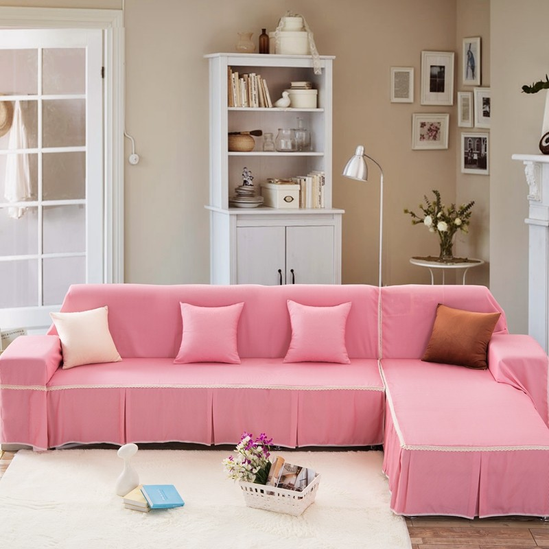 Unikea Pink Sofa Cover Sectional Sofa Covers For L Shaped Sofa ...
