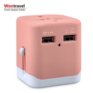 OEM logo worldwide travel adaptor international plug EU UK US AUS usb charger adapter wall outlet for business gifts