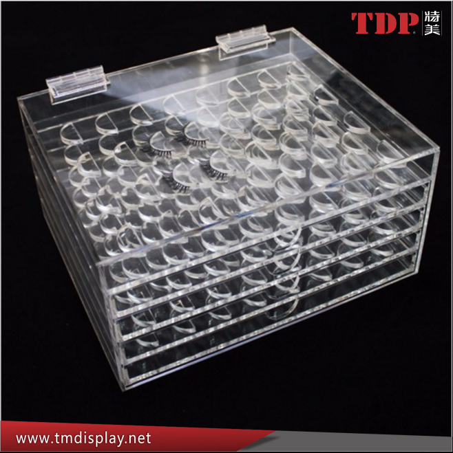 Custom clear acrylic eyelash extension holder eyelash display rack with hinged lid