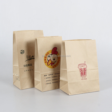 Custom grease proof brown kraft paper food take away bags for food packaging wholesale